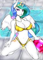 My Little Voxix: Poolside Celestia by voxixvoid