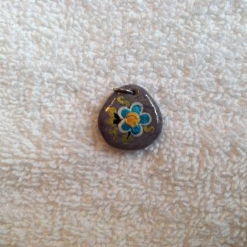 Faux Stone w/ a Metallic Flower by Gold-Heart-Clay