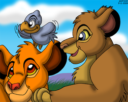 Simba, Tojo, and a Birdie by JwalsShop
