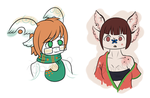 East and West Busts by toomoko
