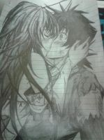Rias Gremory and Issei kissing drawing sketch. by Trane387