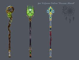 magic staffs by LadyOwl