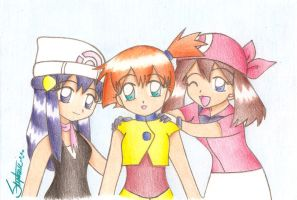 Chibi Dawn Misty and May color by BklynSharkExpert
