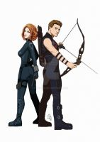Black Widow and Hawkeye by Fandias