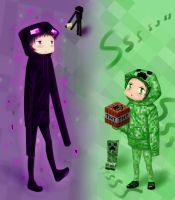 Minecraft Ender and Creeper. by PutaRabbitYandere