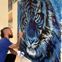 Blue Tiger In Progress by AtomiccircuS