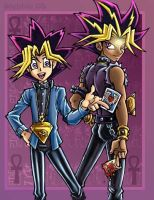 Hikari and Yami, Yugi and Atem by Catlover122