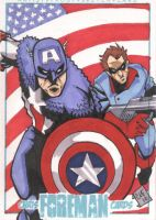 Cap and Bucky Sketch Card by chris-foreman