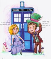 TARDIS lands in Wonderland by Mad-Hattie