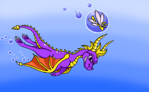 Spyro Swimming by Akumaru13
