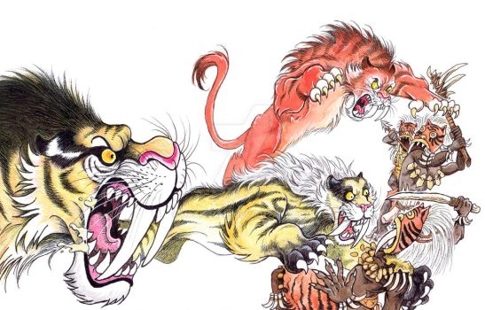 Shita and her new tiger friends attack by HaakonLie
