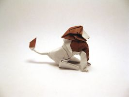 Origami Sitting Lion by orimin
