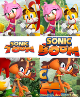 Sonic Boom and Sonic Toon official art differences by Momocatluv