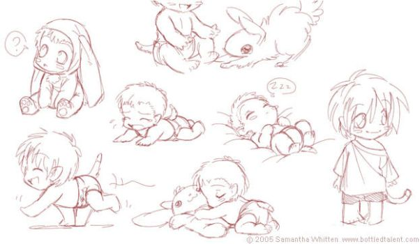 Baby Frog sketches by celesse