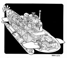 One man Submarine Cutaway by Frohickey