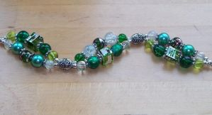 Green and silver two strand bracelet by TerraNovaJewels