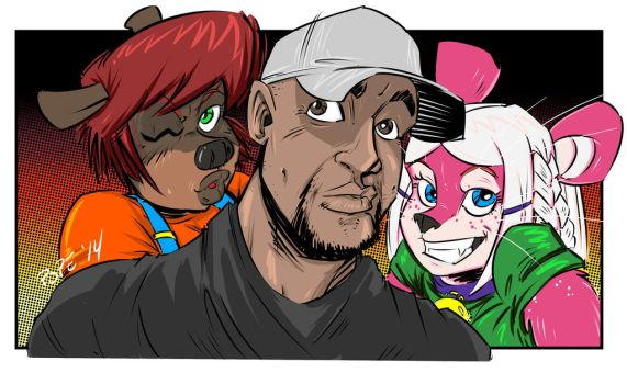 Selfie, photobombed by my own toons!!! by 2POPE