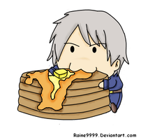 Chibi Prussia loves pancakes by raine9999