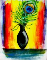 Peacock Feather in a Vase by JenniferTheFirst