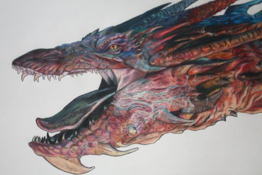 Smaug coloured pencil drawing by DragonForge311088
