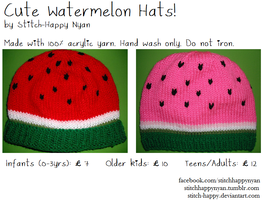 Cute Watermelon Hats by Stitch-Happy