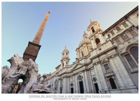 Fontana del Quattro Fiumi and Sant'agnese by erman-y