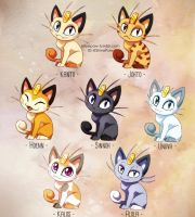 Meowth variations by ShinePawArt