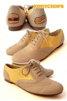 Mustard Polka Dot Brogues by ponychops