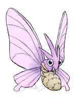 Draw'em All Challenge: 049 Venomoth by Saku-Senpai