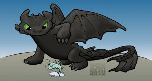 Toothless the Dragon color by vonholdt