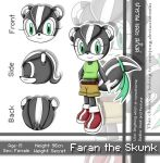[Sonic OC] Faran the Skunk Design by noirjung