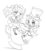 Alice and Mad Hatter Commission - Sketch by YamPuff