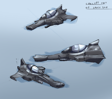 Concept art training - Random space ship by Alumx