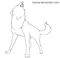 Howling Wolf MS Paint Line Art by Yazora