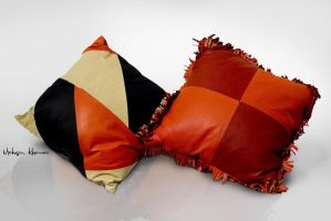 Leather Cushion covers orange by mohsinkhawar