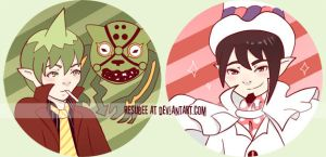 ao no exorcist buttons by resubee