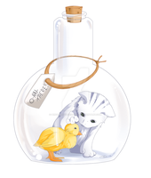 Kitty in a Bottle by PenguinAttackStudios