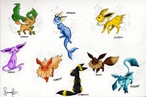 Eeveelution Doodles by Diamondza