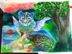 Leopard Peacock painting by EmilytheKuro