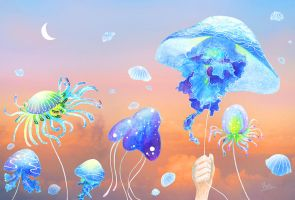 Sea of clouds and jellyfish by flathirao