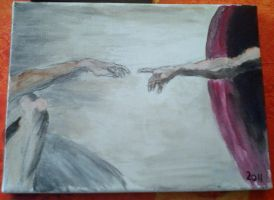 Michelangelo's The Creation Of Adam (Fingers) by Mariestel