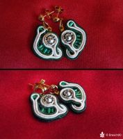 Soutache Green Earrings by Breach90