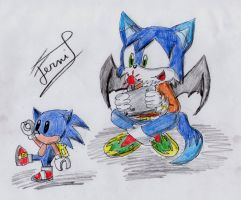 Lucas and his mini sonic by Ferni21