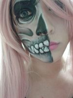 Skull Half Face by Leuxdeluxe