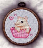 Hampster Cupcake Cross Stitch by TalyrasMirror