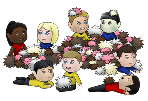 Spirk 'n' Friends - Cuddles with Tribbles! (Chibi) by MSU82