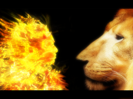 Lion and Fire Goblin by Ikramshagor