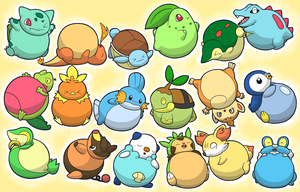 All Pokemon Starters Inflated by selphy6