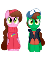 Mable and Dipper Front View by Wingscanspeak