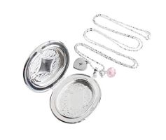 Big Silver Oval Picture Locket Necklace by crystaland